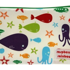 Marine life travel fabric zippered bag/pouch with waterproof lining.