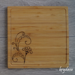 Wood Burnt Deco Flower Bamboo Cutting Board