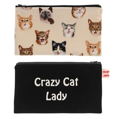 Crazy Cat Lady zippered bag/pouch/makeup bag, 9 different cat fabrics to choose