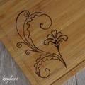 Wood Burnt Deco Flower Bamboo Cutting Board
