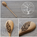 Wood Burnt Feather Wooden Spoon