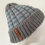 Grey striped merino beanie, blue striped beanie, mens beanie, Ladies winter hat