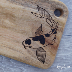 Wood Burnt Koi Camphor Laurel Cutting Board