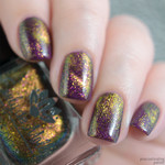 "Nail polish - ""Tropical Magic"" A pink / gold / green magnetic micro flake topper"