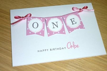 Girls 1st Birthday card - pink or purple bunting - ONE