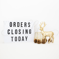 Christmas Stock Photo Gold Reindeer and Pine Cones