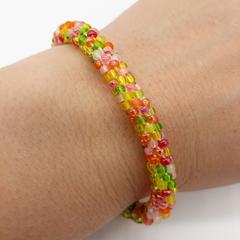 Kumihimo Beaded Bracelet Boho White, Orange Yellow Green And Pink