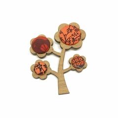 Kimono Tree Brooch - Red Florals