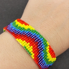 Rainbow wavy Beaded Loom Bracelet 60s 70s  Bright Summer Hippie Boho Tie dye
