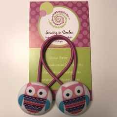 Pink owl hair ties