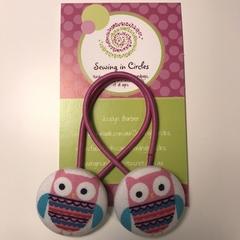 Pink owl hair ties
