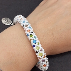 Multi Coloured Cats Eye Beaded  Bracelet Rainbow Bright White