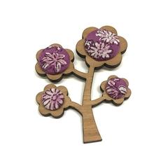 Kimono Tree Brooch - Purple Florals