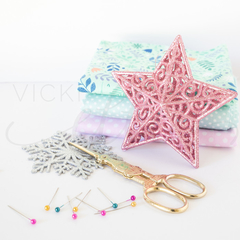 Sewing Stock Photo -Christmas Stock Photo - Pink Star & Sewing