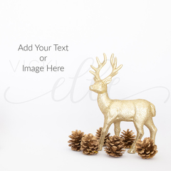 Gold Reindeer Christmas Stock Photo, Mockup Photo