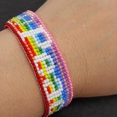 Peace Sign Beaded Loom Bracelet 60s 70s Rainbow Bright Summer Hippie Boho
