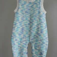 """Sky Blues"" knitted onesie/overall/romper size 0-9 months"
