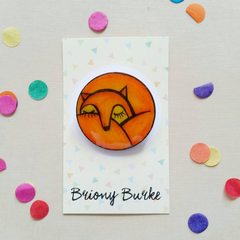 Sleeping Fox Brooch - one of a kind - hand painted - wearable art SECOND