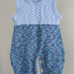 """Ocean Blues"" knitted onesie/overall/romper size 0-9 months"