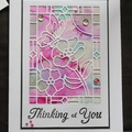 Thinking of You Card, Sympathy Card, Die Cut, Hand stamped