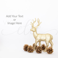Gold Reindeer Christmas Stock Photo, Mockup Photo