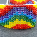 Rainbow wavy Beaded Loom Bracelet 60s 70s  Bright Summer Hippie Boho Tie dye