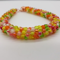 Kumihimo Beaded Bracelet Boho White, Orange Yellow Green And Pink