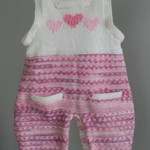 """Sweet Heart"" knitted onesie/overall/romper size 0-9 months"