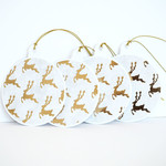 Christmas Gift Tags set of 4_Gold Reindeer Baubles