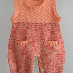 """Sunset"" knitted onesie/overall/romper size 0-9 months"