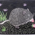 Native Australian Bush Rat Linocut Print / Australian Animal
