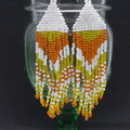 White Yellow and Orange Beaded Earrings Dangle Tassel Drop Fringe Boho