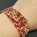 Red and Gold   Beaded Bracelet Bronze summer Trendy