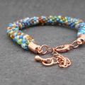 Blue and brown Kumihimo Beaded Bracelet Boho