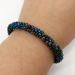 Green, Bronze Blue Turquoise Kumihimo Beaded Bracelet Boho