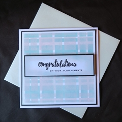 Congratulations Card,   Hand stamped, Gelli Press
