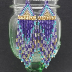 Purple, Turquoise and Gold Beaded Earrings Dangle Tassel Drop Fringe Boho