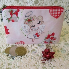 Christmas Coin Purse - Jewellery Pouch - Xmas Angel