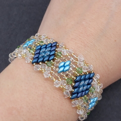 Diamond Beaded Bracelet Blue Gold Boho Formal
