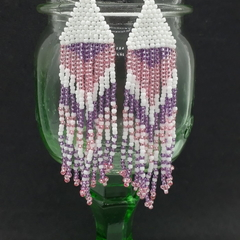 White Purple and Pink  Beaded Earrings Dangle Tassel Drop Fringe Boho