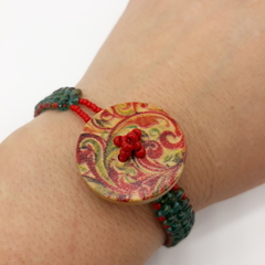 Wooden Button  Red and Turquoise Bracelet Vintage  Flower boho Spring