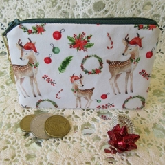 Christmas Coin Purse - Jewellery Pouch - Deer with Wreath Charm