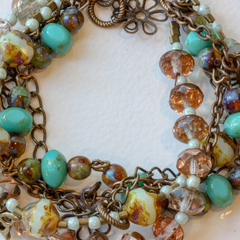 Beaded and Brass Charm Bracelet