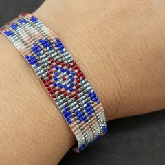 Blue, Brown, Silver, Red and White Beaded Bracelet Pattern Autumn Boho