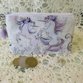 Coin Purse - Jewellery Pouch - Unicorns with Mauve Tassel and Believe Charm