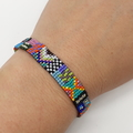 Rainbow Pattern Beaded Bracelet Bright Colour Pattern Funky