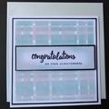 Congratulations Card,   Hand stamped, Gelli Press
