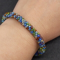 Blue and brown Kumihimo Beaded Bracelet Boho