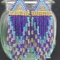 Purple, Turquoise and Gold Beaded Earrings Dangle Tassel Drop Fringe Boho