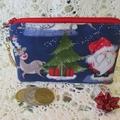 Christmas Coin Purse - Jewellery Pouch -Santa and Reindeer, Xmas Tree Charm